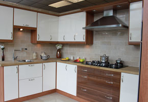 Cream And Walnut High Gloss Fitted Kitchens UK