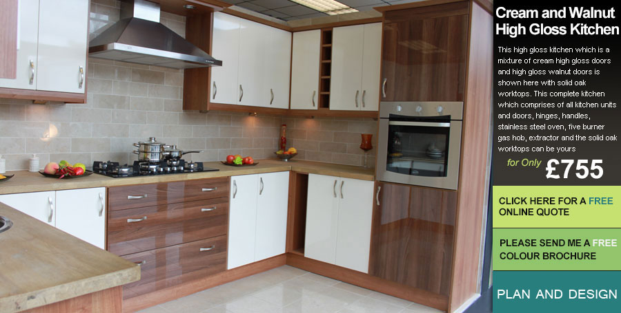 Walnut And Cream Kitchen Design Ideas ~ Cream and walnut high gloss fitted kitchens uk