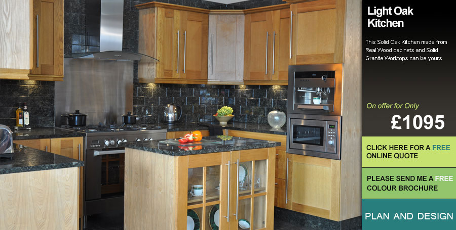 Light oak fitted kitchens uk for Oak fitted kitchen